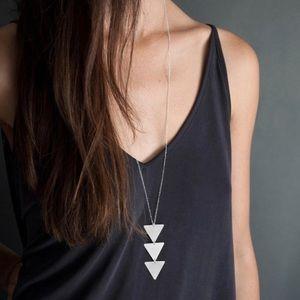 Betty- Geometric Arrow Silver Triangle Necklace